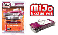1962 CHEVROLET IMPALA SS CONVERTIBLE MAGENTA PLUM CUSTOM LOWRIDERS 1/64 SCALE DIECAST CAR MODEL BY AUTO WORLD CP7663