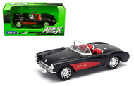 1957 CHEVROLET CORVETTE BLACK / RED 1/24 SCALE DIECAST CAR MODEL BY WELLY 29393