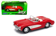 1957 CHEVROLET CORVETTE RED / WHITE 1/24 SCALE DIECAST CAR MODEL BY WELLY 29393