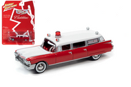 1959 CADILLAC AMBULANCE RED / WHITE 1/64 SCALE DIECAST CAR MODEL BY JOHNNY LIGHTNING JLSP098
