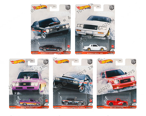 2020 CAR CULTURE POWER TRIP T CASE SET OF 5 1/64 SCALE DIECAST CAR MODEL BY HOT WHEELS  FPY86-956T