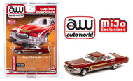 1976 CADILLAC COUPE DEVILLE BURGUNDY CUSTOM LOWRIDERS EXCLUSIVE 1/64 SCALE DIECAST CAR MODEL BY AUTO WORLD CP7661