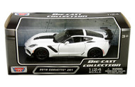2019 CHEVROLET CORVETTE ZR1 WHITE 1/24 SCALE DIECAST CAR MODEL BY MOTOR MAX 79356
