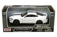 2018 FORD MUSTANG GT WHITE 1/24 SCALE DIECAST CAR MODEL BY MOTOR MAX 79352
