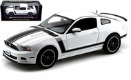 2013 FORD MUSTANG BOSS 302 WHITE 1/18 SCALE DIECAST CAR MODEL BY SHELBY COLLECTIBLES SC452