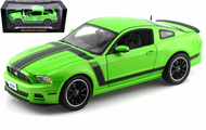 2013 FORD MUSTANG BOSS 302 GREEN 1/18 SCALE DIECAST CAR MODEL BY SHELBY COLLECTIBLES SC453