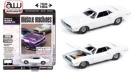 1970 DODGE CHALLENGER R/T WHITE 1/64 SCALE DIECAST CAR MODEL BY AUTO WORLD AWSP050 B