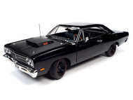 1969.5 PLYMOUTH ROAD RUNNER HARDTOP BLACK 1/18 SCALE DIECAST CAR MODEL BY AUTO WORLD AMM1232