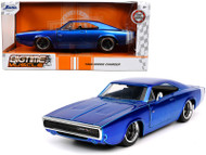 1968 DODGE CHARGER CANDY BLUE WHITE STRIPES 1/24 SCALE DIECAST CAR MODEL BY JADA TOYS 31865