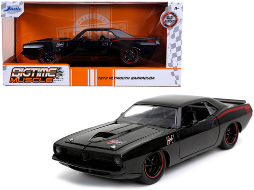 1973 PLYMOUTH BARRACUDA HURST BLACK WITH RED STRIPES 1/24 SCALE DIECAST CAR MODEL BY JADA TOYS 31460