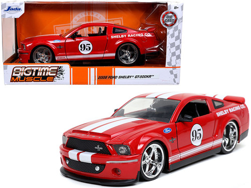 2008 FORD MUSTANG GT500KR #95 RED WITH WHITE STRIPES 1/24 SCALE DIECAST CAR MODEL BY JADA TOYS 31867