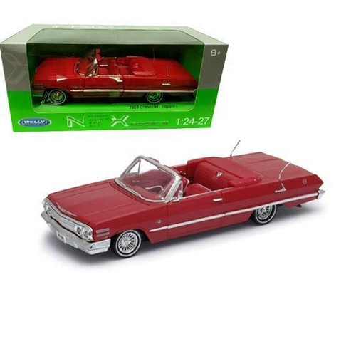 1963 CHEVROLET IMPALA CONVERTIBLE RED 1/24 SCALE DIECAST CAR MODEL BY WELLY 22434