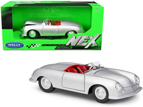 1948 PORSCHE 356 ROADSTER SILVER 1/24 SCALE DIECAST CAR MODEL BY WELLY 24090