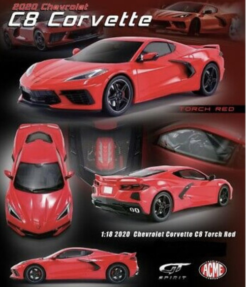 2020 CHEVROLET CORVETTE C8 TORCH RED 1/18 DIECAST CAR MODEL BY GT SPIRIT US028
