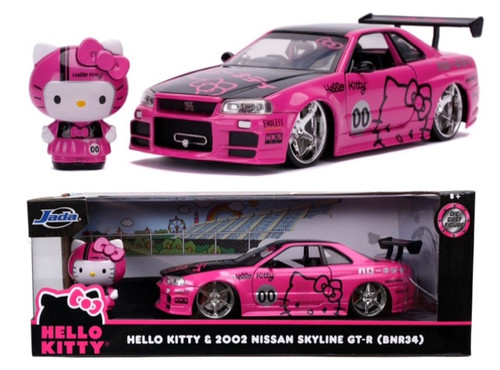 2002 NISSAN SKYLINE GT-R R34 WITH HELLO KITTY FIGURE HOLLYWOOD RIDES 1/24 SCALE DIECAST CAR MODEL BY JADA TOYS 31613