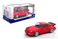 1990 PORSCHE 964 TURBO 3.6 RED 1/18 SCALE DIECAST CAR MODEL BY SOLIDO S1803402
