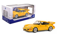 1990 PORSCHE 964 TURBO 3.6 YELLOW 1/18 SCALE DIECAST CAR MODEL BY SOLIDO S1803401