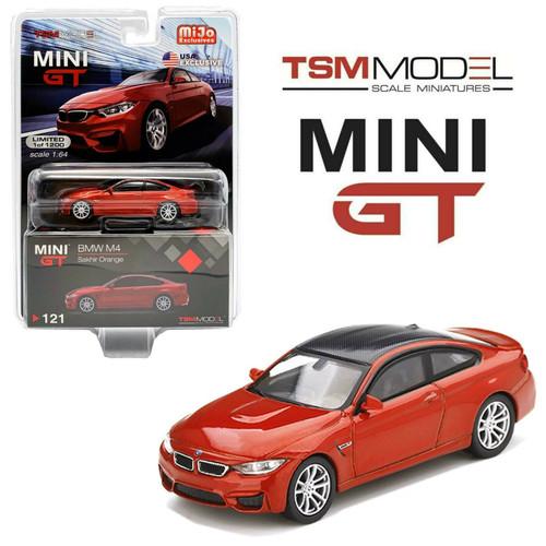 BMW M4 F82 SAKHIR ORANGE MIJO EXCLUSIVE 1200 MADE 1/64 SCALE DIECAST CAR MODEL BY TSM MINI GT MGT00121