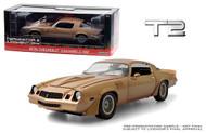 1973 CHEVROLET CAMARO Z28 GOLD TERMINATOR 2 T2 JUDGEMENT DAY 1/18 SCALE DIECAST CAR MODEL BY GREENLIGHT 13573
