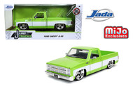 1985 CHEVROLET C-10 PICKUP TRUCK GREEN CARTELLI  WHEELS 2400 MADE 1/24 SCALE DIECAST CAR MODEL BY JADA TOYS 32685