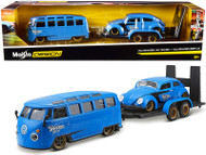 VOLKSWAGEN VAN SAMBA FLATBED TRAILER & VW BEETLE BUG 1/24 SCALE DIECAST CAR MODEL BY MAISTO 32752