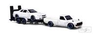 1973 DATSUN 620 TRUCK NISSAN SKYLINE GT-R R34 FLATBED TRAILER 1/24 SCALE DIECAST CAR MODEL BY MAISTO 32754