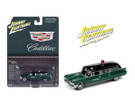 1959 CADILLAC CORONER WAGON HEARSE GREEN 1/64 SCALE DIECAST CAR MODEL BY JOHNNY LIGHTNING JLSP100