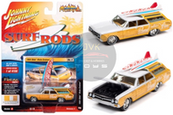 1964 OLDSMOBILE VISTA CRUISER WAGON SURF RODS WHITE PEARL YELLOW WOOD PANELING 1/64 SCALE DIECAST CAR MODEL BY JOHNNY LIGHTNING JLSP110