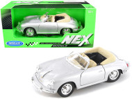 PORSCHE 356B ROADSTER SILVER 1/24 SCALE DIECAST CAR MODEL BY WELLY 29390