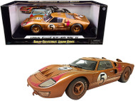 1966 FORD GT-40 MK II #5 GOLD AFTER RACE DIRTY VERSION 1/18 SCALE DIECAST CAR MODEL BY SHELBY COLLECTIBLES SC430
