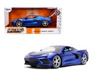 2020 CHEVROLET CORVETTE STINGRAY C8 BLUE 1/24 SCALE DIECAST CAR MODEL BY JADA TOYS 32537