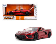 2020 CHEVROLET CORVETTE STINGRAY C8 CANDY RED 1/24 SCALE DIECAST CAR MODEL BY JADA TOYS 32538