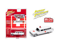 1959 CADILLAC AMBULANCE WHITE RED CROSS 3600 MADE EXCLUSIVE 1/64 SCALE DIECAST CAR MODEL BY JOHNNY LIGHTNING JLCP7350