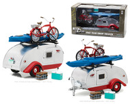 1947 TEAR DROP TRAILER CAMPER RV WITH ACCESSORIES SILVER & RED 1/24 SCALE DIECAST CAR MODEL BY GREENLIGHT 18440