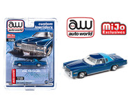 1975 CADILLAC ELDORADO BLUE LOWRIDER EXCLUSIVE 1/64 SCALE DIECAST CAR MODEL BY AUTO WORLD CP7720