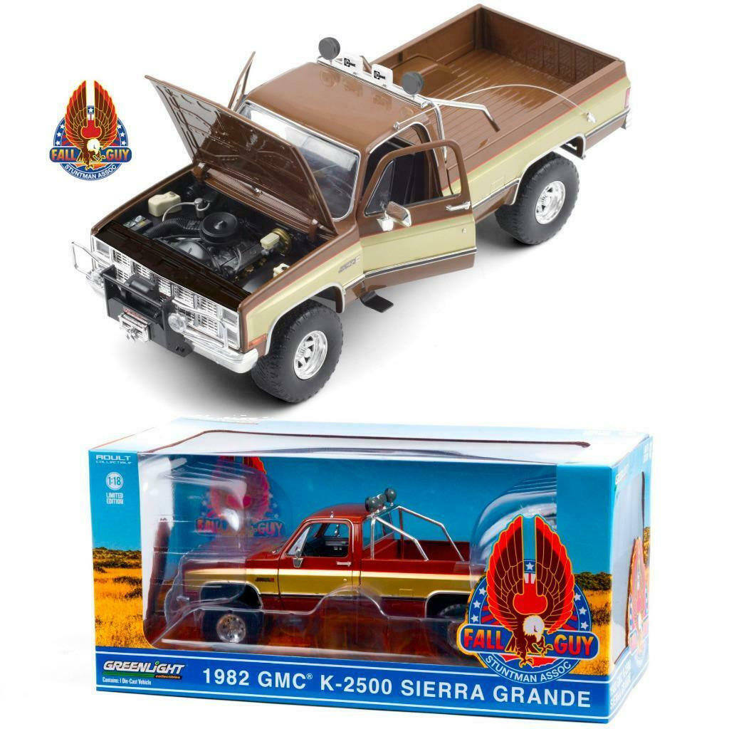 1982 Gmc K 2500 Sierra Grande Wideside Pickup Truck Fall Guy 1 18 Scale Diecast Car Model By Greenlight 13560 Jvk Toys