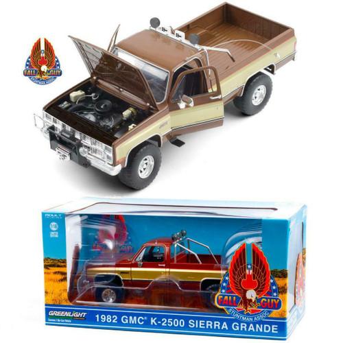 1982 GMC K-2500 SIERRA GRANDE WIDESIDE PICKUP TRUCK FALL GUY 1/18 SCALE DIECAST CAR MODEL BY GREENLIGHT 13560