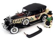 1932 CADILLAC V16 SPORT PHAETON MR MONOPOLY CAR & RESIN FIGURE 1/18 SCALE DIECAST CAR MODEL BY AUTO WORLD AWSS127