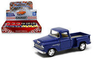"1955 CHEVROLET STEPSIDE PICKUP TRUCK BOX OF 12 1/32 SCALE 5"" DIECAST CAR MODEL PULL BACK BY KINSMART KT5330D"