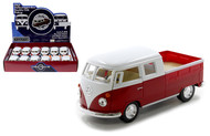 "1963 VOLKSWAGEN BUS DOUBLE CAB PICKUP TRUCK BOX OF 12 1/32 SCALE 5"" DIECAST CAR MODEL PULL BACK BY KINSMART KT5387D"
