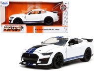 2020 FORD MUSTANG GT SHELBY GT500 WHITE WITH BLUE STRIPES BIGTIME MUSCLE 1/24 SCALE DIECAST CAR MODEL BY JADA 32663