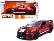 2020 FORD MUSTANG GT SHELBY GT500 RED WITH WHITE STRIPES BIGTIME MUSCLE 1/24 SCALE DIECAST CAR MODEL BY JADA 32662
