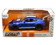 2020 FORD MUSTANG GT SHELBY GT500 BLUE WITH WHITE STRIPES BIGTIME MUSCLE 1/24 SCALE DIECAST CAR MODEL BY JADA 32409