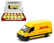 "MERCEDES BENZ SPRINTER DHL DELIVERY TRUCK VAN BOX OF 12 1/48 SCALE DIECAST CAR MODEL 5"" LONG BY KINSMART KT5429D"