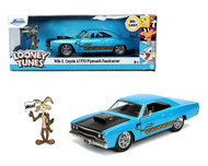 1970 PLYMOUTH ROAD RUNNER WITH WILE E COYOTE FIGURE LOONEY TUNES HOLLYWOOD RIDES 1/24 SCALE DIECAST CAR MODEL BY JADA TOYS 32038