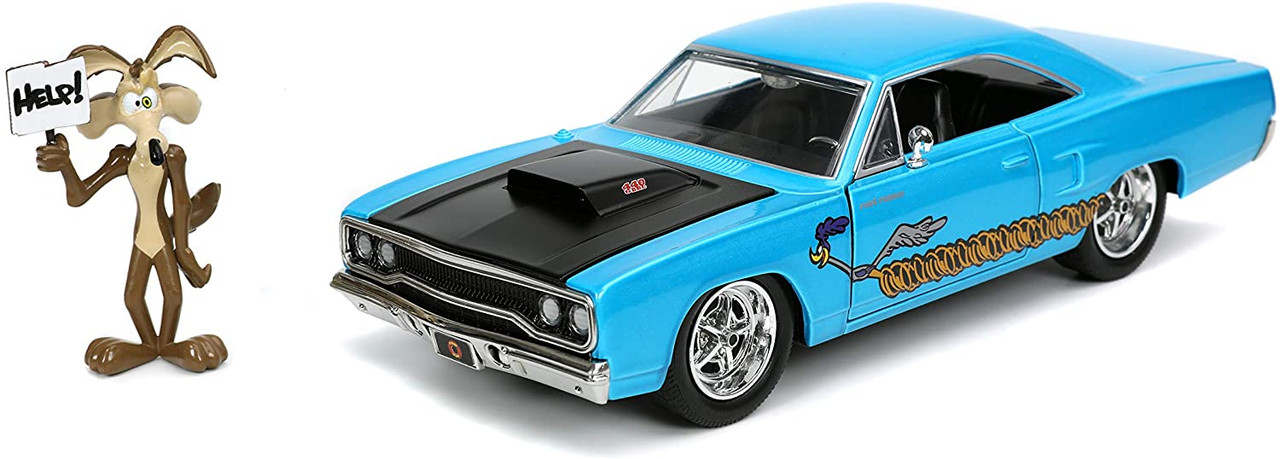 Jada Looney Tunes 1970 Plymouth Road Runner 1:24 with Wile E Coyote Blue 32038
