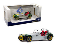 1989 LOTUS 7 ALUMININUM & GREEN 1/18 SCALE DIECAST CAR MODEL BY SOLIDO 1801803