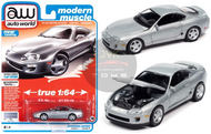 1993 TOYOTA SUPRA ALPINE SILVER 1/64 SCALE DIECAST CAR MODEL BY AUTO WORLD AWSP064