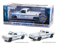1984 CHEVROLET CUCV M1008 NEW YORK POLICE TRUCK NYPD 1/18 SCALE DIECAST CAR MODEL BY GREENLIGHT 13561