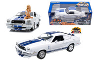 1976 FORD MUSTANG COBRA II WHITE CHARLIES ANGELS 1/18 SCALE DIECAST CAR MODEL BY GREENLIGHT 12880